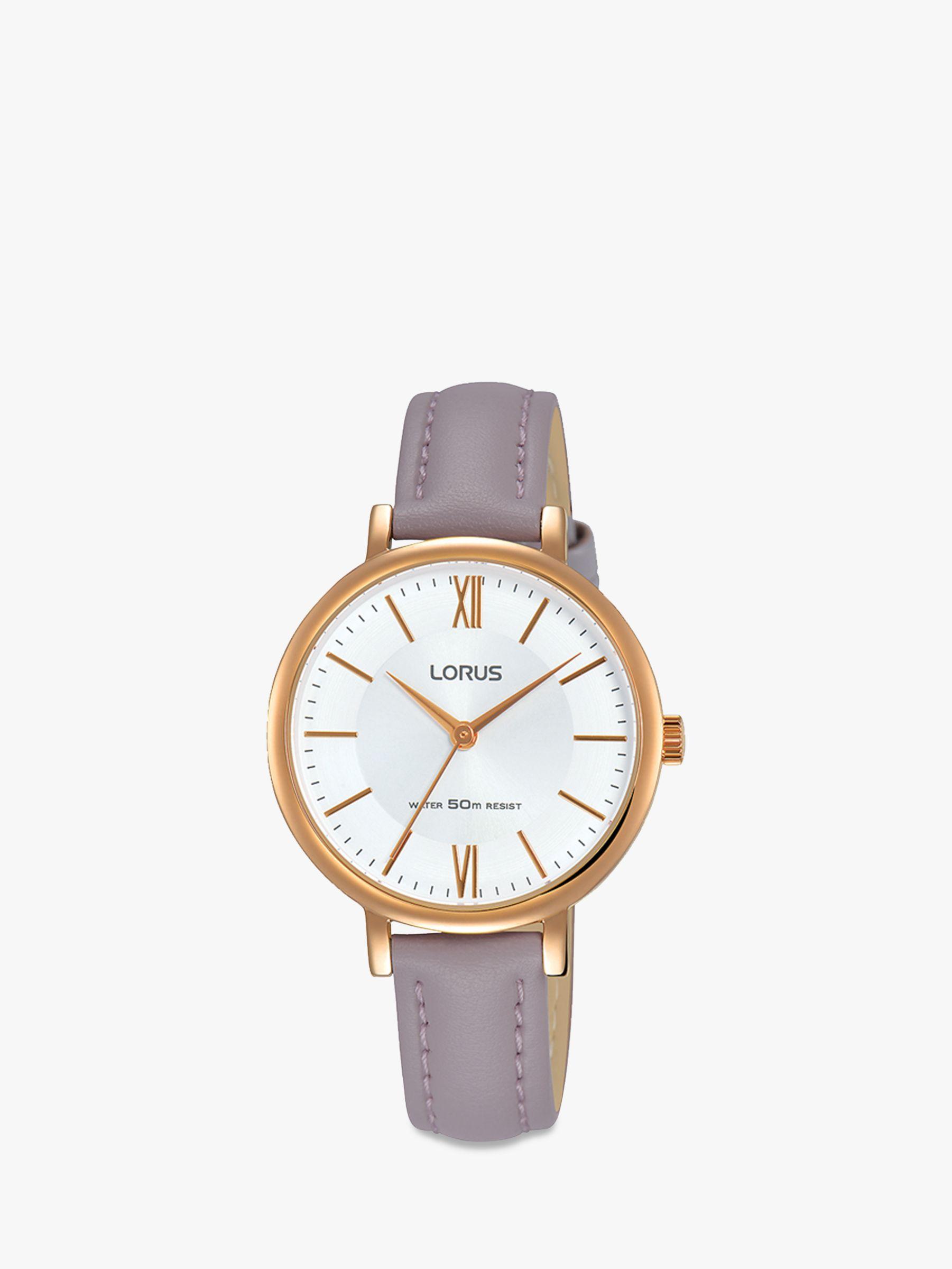 Lorus Lorus Women's Leather Strap Watch, Purple/White RG264LX6