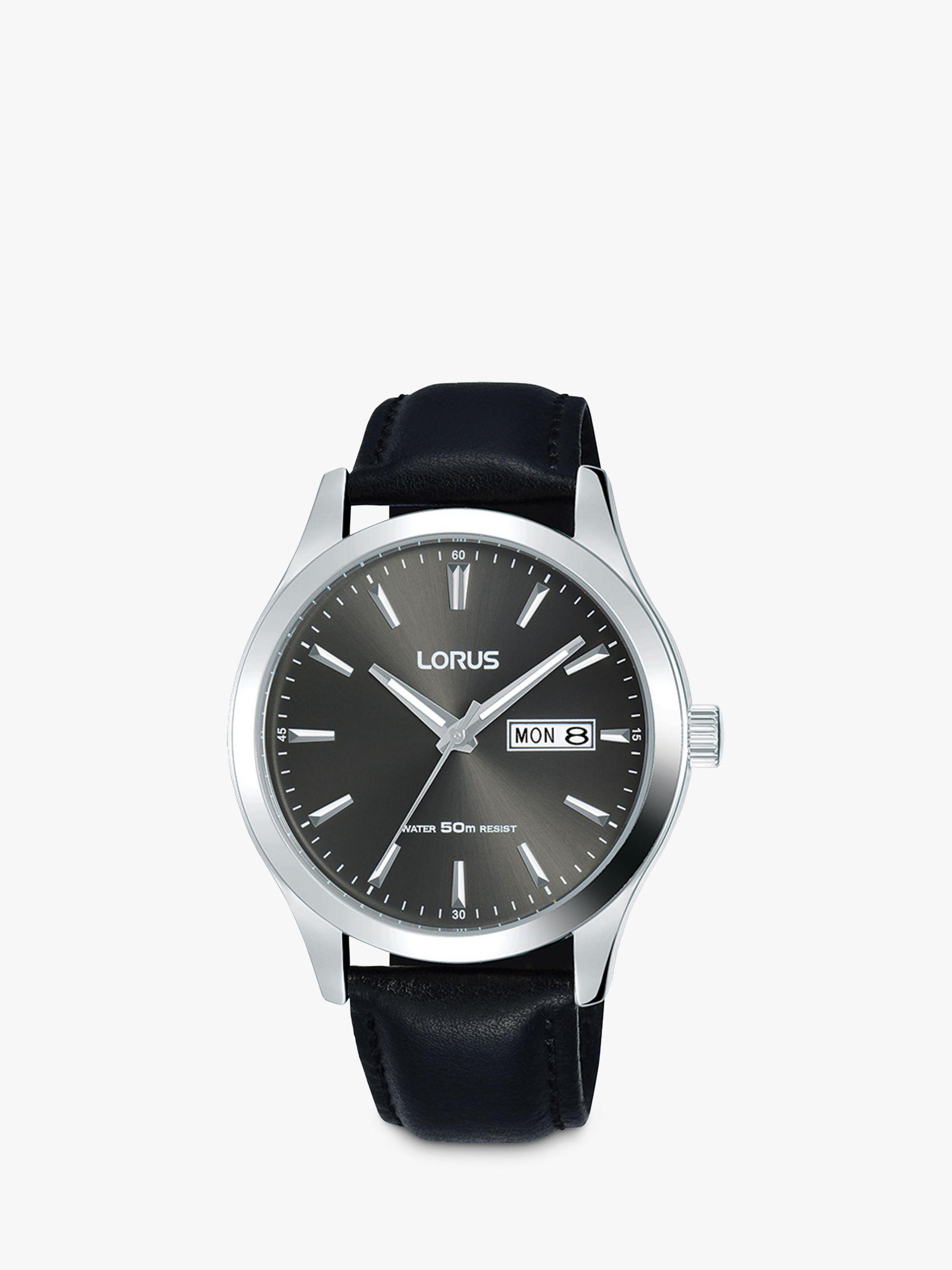 Lorus Lorus Men's Day Date Leather Strap Watch, Black/Grey RXN63DX9