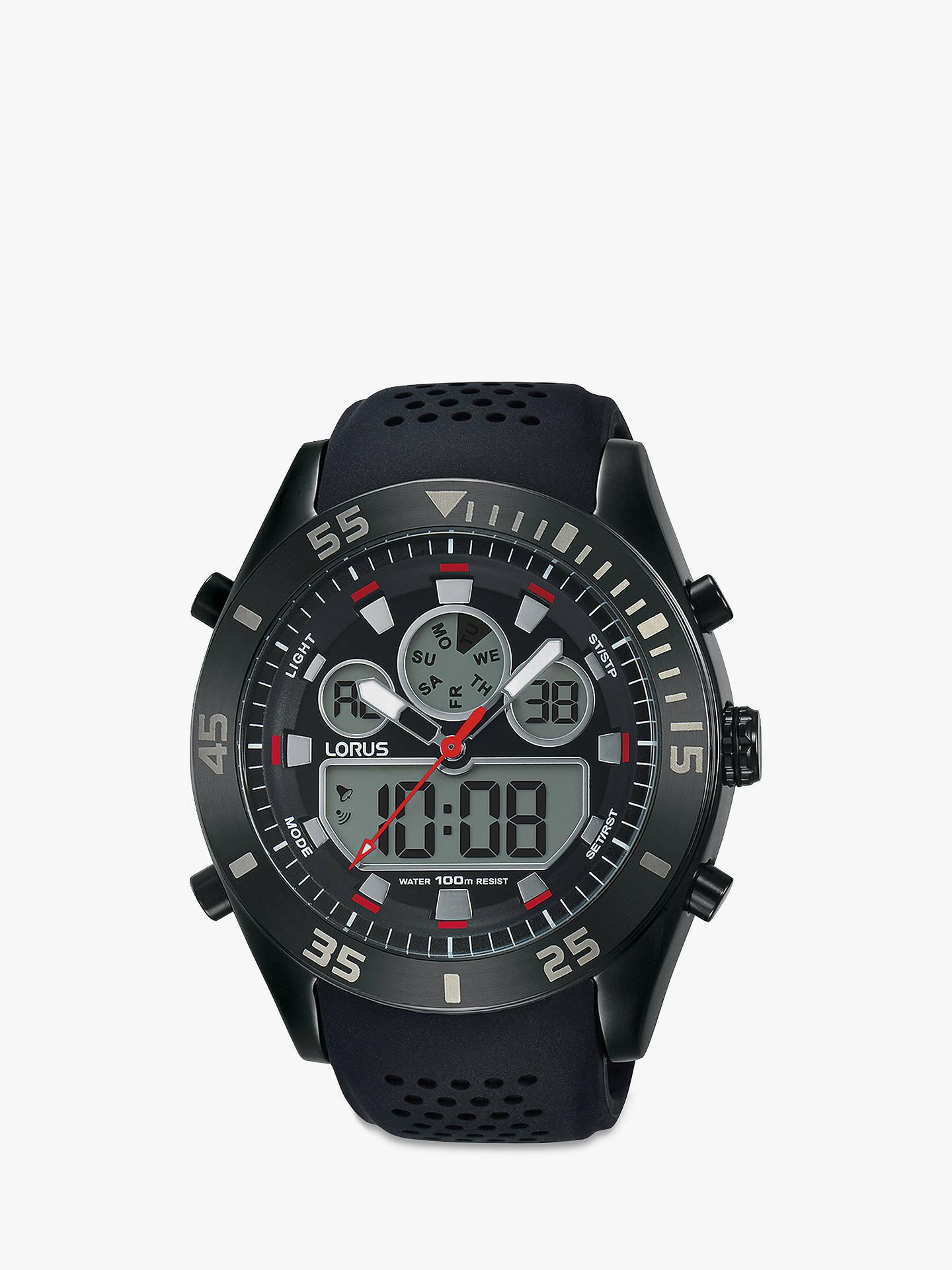 4afda14e9 Buy Lorus R2335LX9 Men's Digital Chronograph Silicone Strap Watch, Black  Online at johnlewis. ...