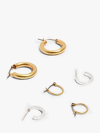 Madewell Hoop Earrings Set Of 3 Gold Silver