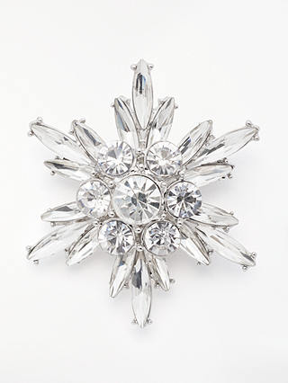 Buy John Lewis & Partners Crystal Snowflake Brooch, Silver Online at johnlewis.com