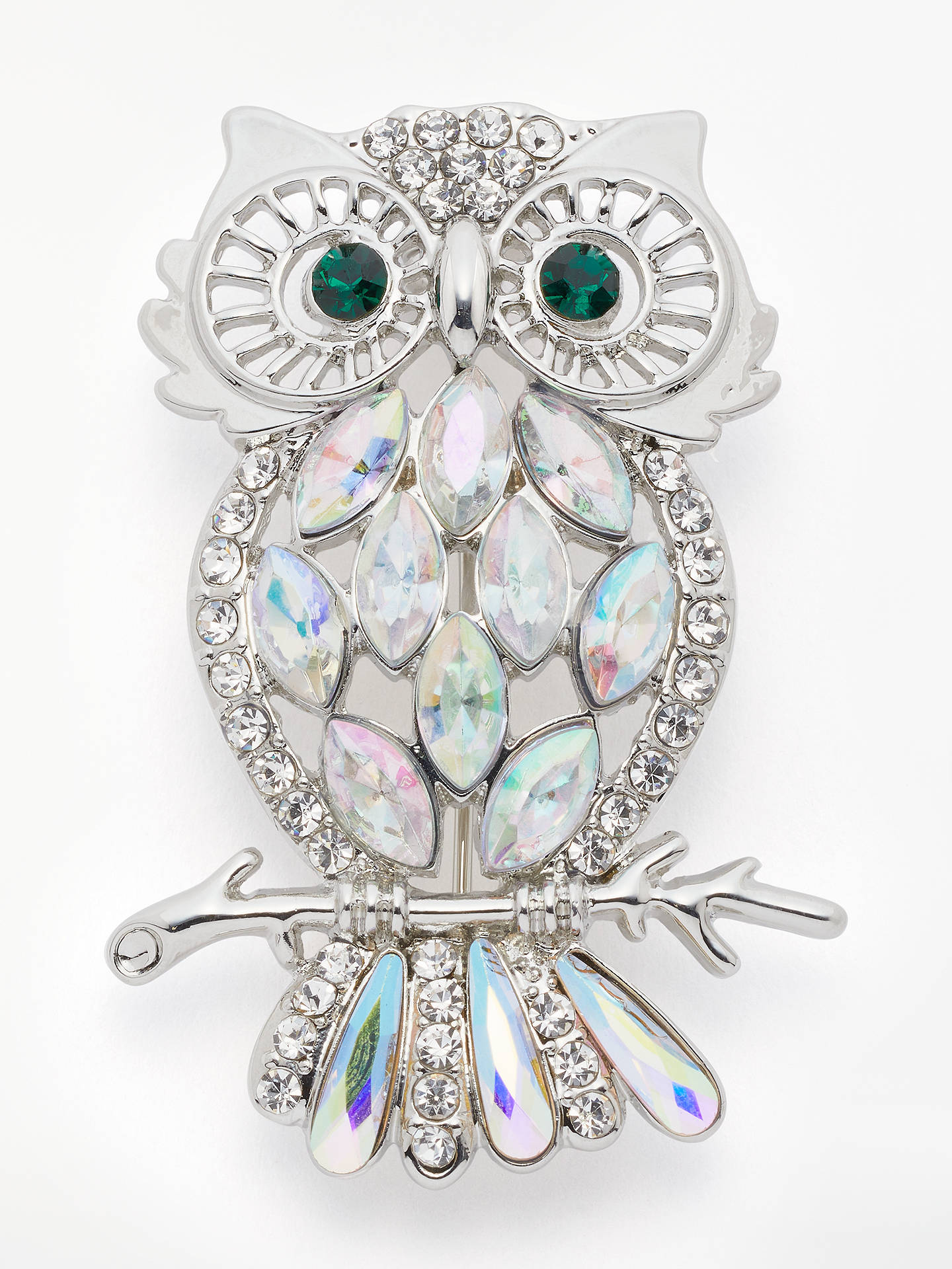 259e99e34ff Buy John Lewis & Partners Crystal Owl Brooch, Silver Online at johnlewis.  ...