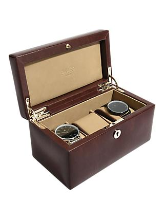 Dulwich Designs Windsor Leather 3 Piece Watch Box, Brown