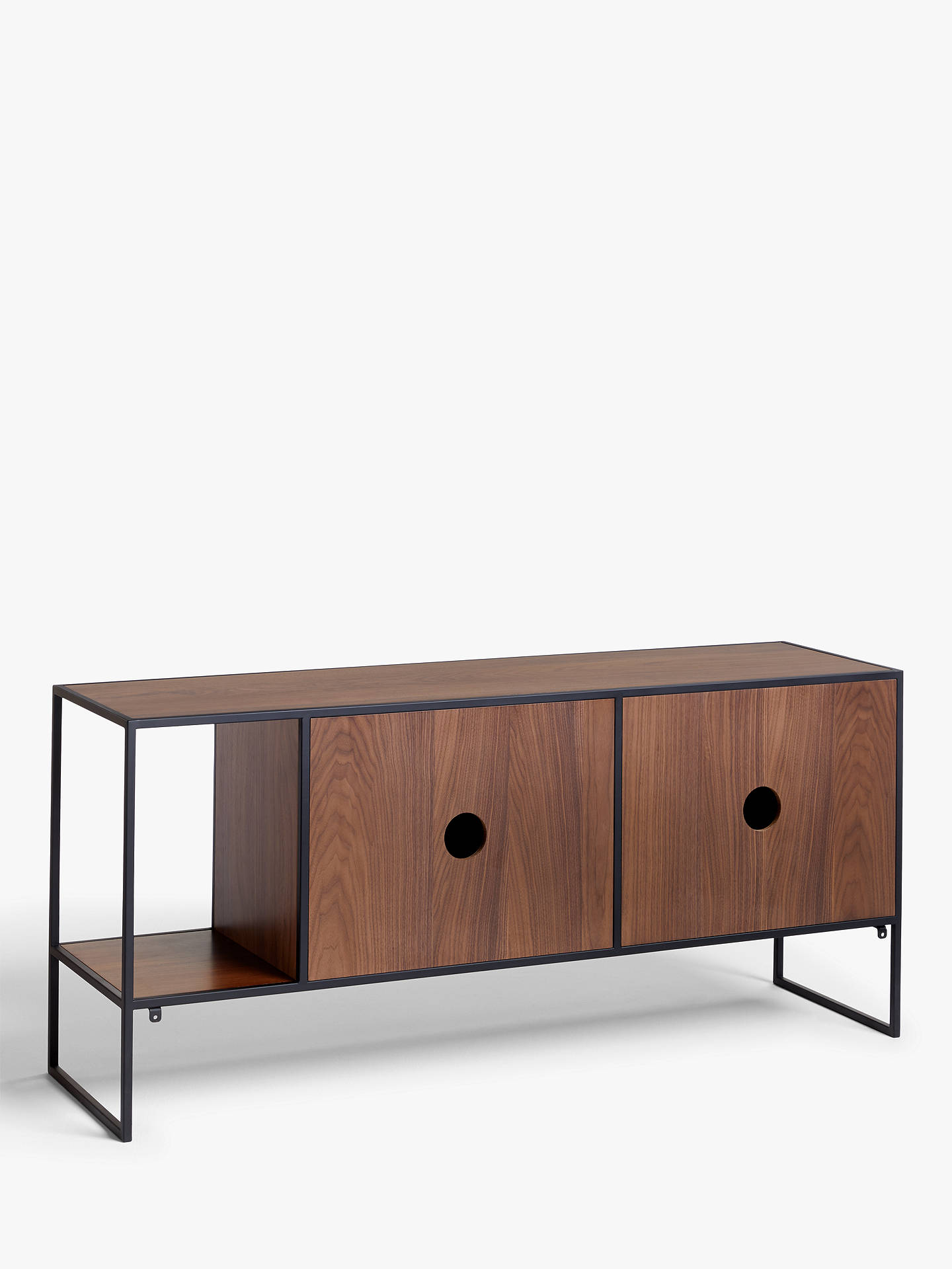 "Buy House by John Lewis Dice TV Stand Sideboard for TVs up to 43"", Walnut/Black Online at johnlewis.com"