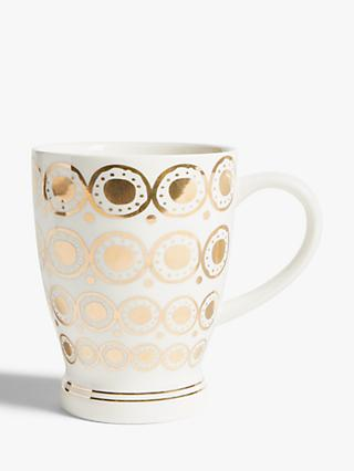 John Lewis & Partners Circle Metallic Latte Mug, 500ml, White/Gold