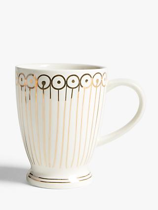 John Lewis & Partners Dash Metallic Latte Mug, 500ml, White/Gold