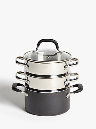 John Lewis & Partners 'The Pan' Aluminium Steamer Set, 18cm, 3 Piece