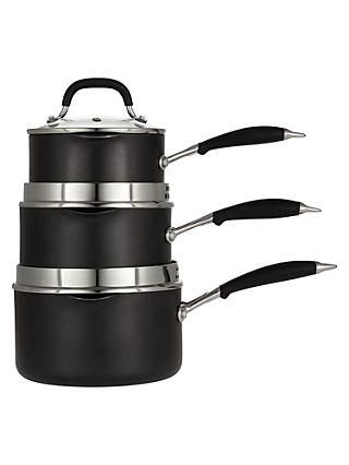 John Lewis & Partners 'The Pan' Aluminium Non-Stick Saucepan Set, 3 Piece