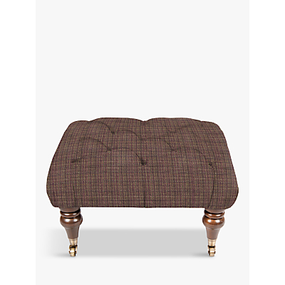 Tetrad Skittle Button Detail Footstool, Antique Brass Castors