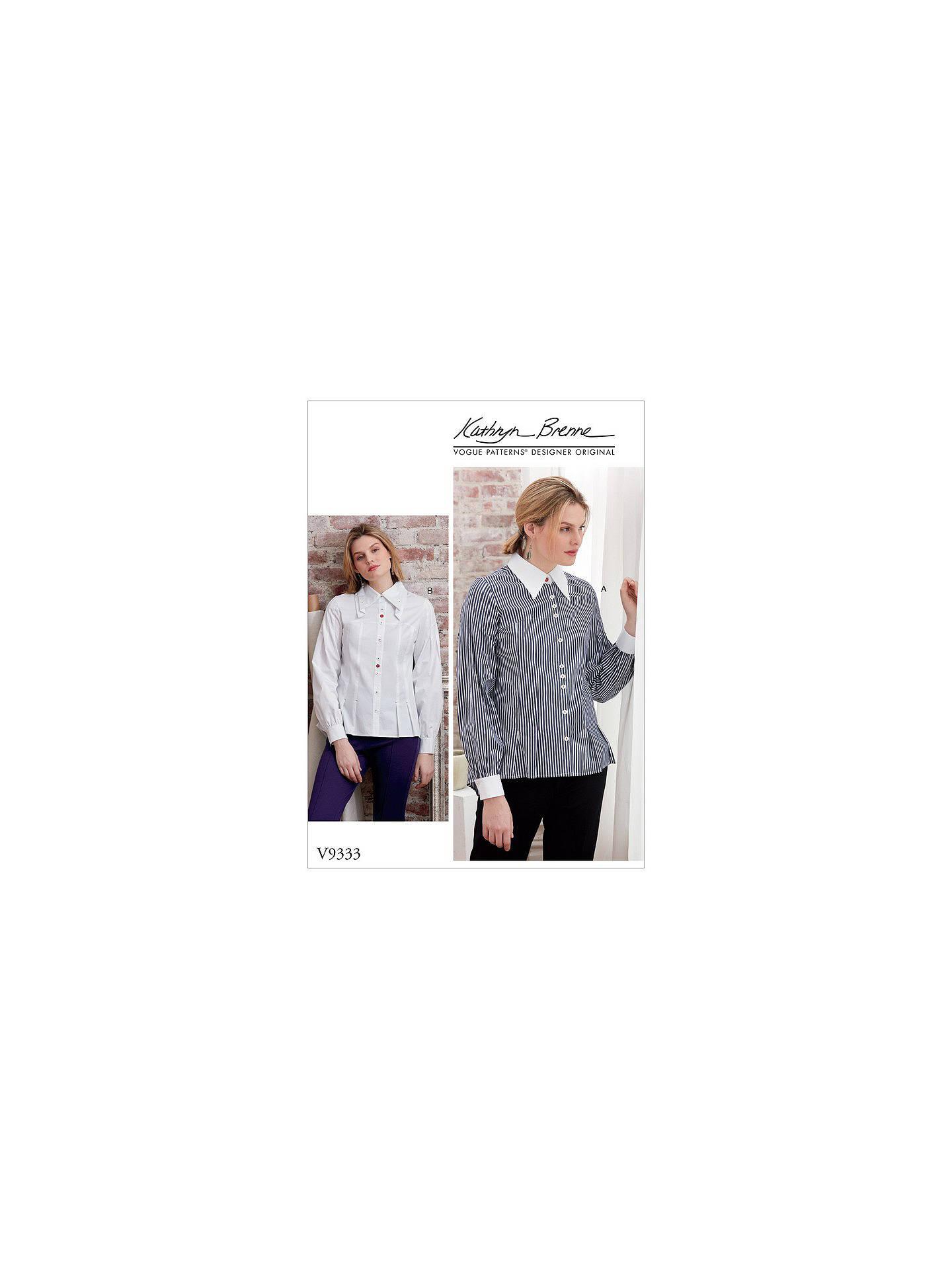 Vogue Women\'s Shirt Sewing Pattern, 9333 at John Lewis & Partners