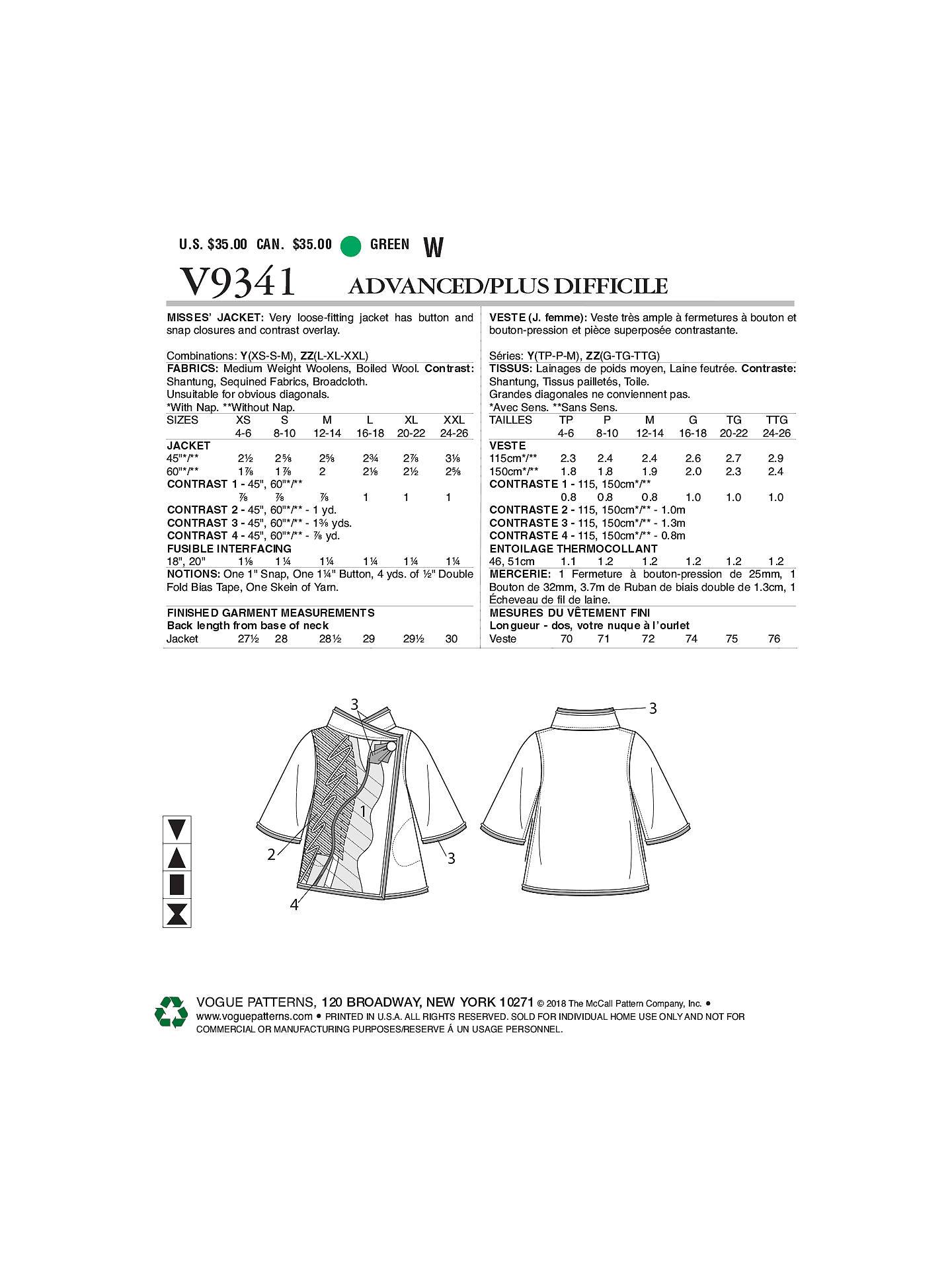 Vogue Women\'s Jacket Sewing Pattern, 9341 at John Lewis & Partners