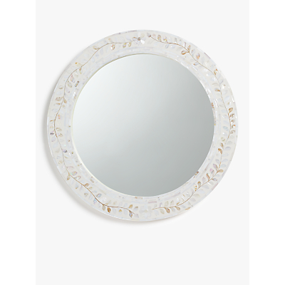 John Lewis & Partners Mother Of Pearl Leaves Round Mirror, 60cm, Cream