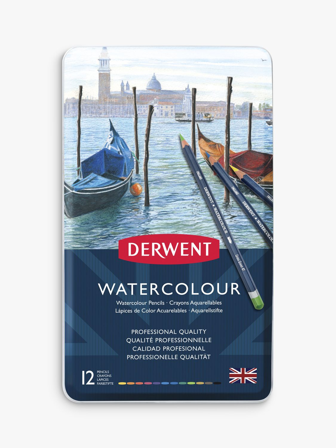 Derwent Watercolour Pencils Tin, Set of 12