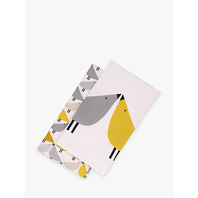 Scion Lintu Birds Tea Towels, Pack of 2, Grey/Yellow