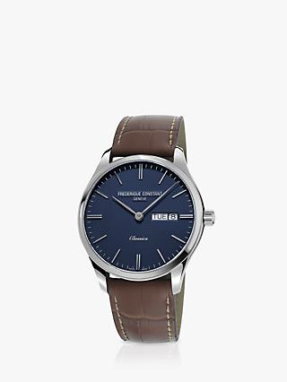 Frederique Constant FC-225NT5B6 Men's Day Date Leather Strap Watch, Brown/Blue