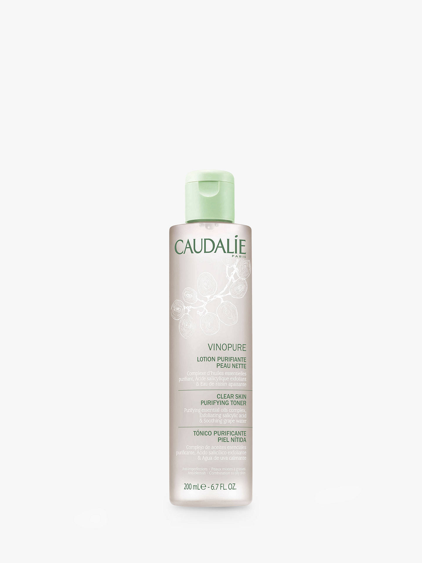 Buy Caudalie Vinopure Clear Skin Purifying Toner, 200ml Online at johnlewis.com