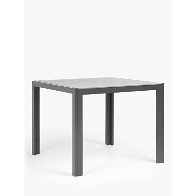 John Lewis & Partners Miami Glass 4-Seat Garden Table, Grey