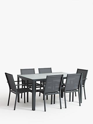 John Lewis & Partners Miami 6-Seat Ceramic Glass Top Garden Dining Table & Chairs Set, Grey