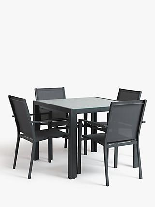 John Lewis & Partners Miami 4-Seat Ceramic Glass Top Garden Dining Table & Chairs Set, Grey