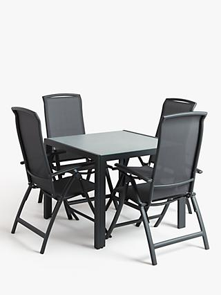 John Lewis & Partners Miami 4-Seat Ceramic-Effect Glass Top Garden Dining Table & Reclining Chairs Set, Grey