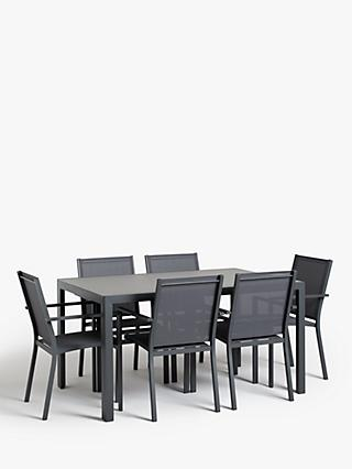 John Lewis & Partners Miami 6-Seat Glass Top Garden Dining Table & Chairs Set, Grey