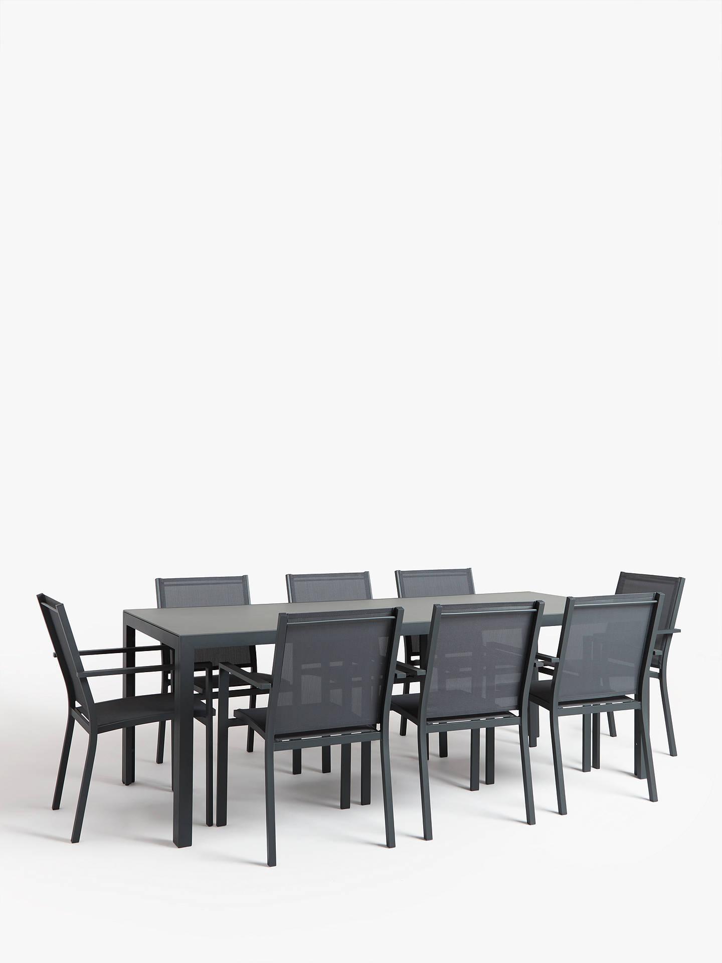 John Lewis & Partners Miami Glass Top 10-Seat Garden Table, Grey