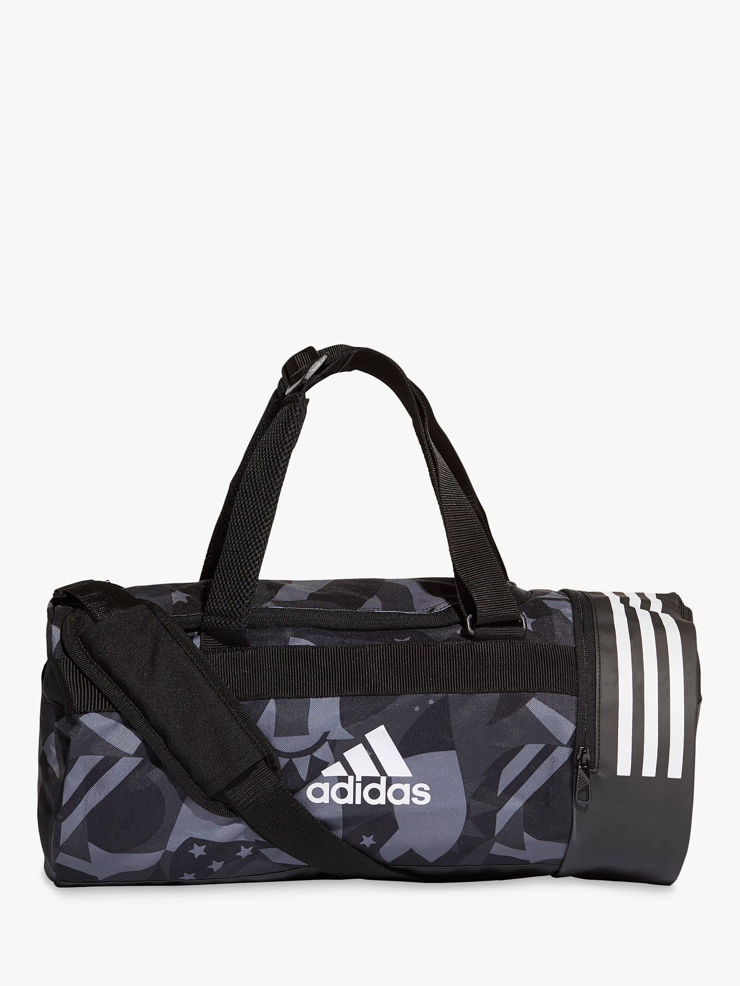 08bdcab92cb adidas 3-Stripes Convertible Graphic Duffel Bag, Black/White at John ...