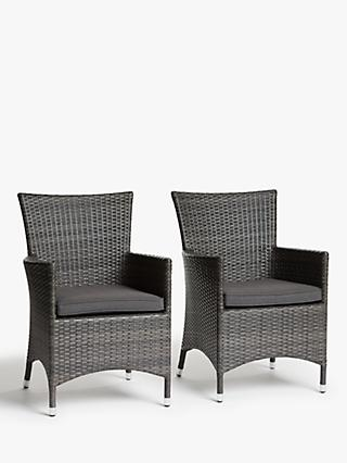 John Lewis & Partners Alora Garden Dining Chairs, Set of 2, Brown/Grey