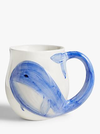 John Lewis & Partners Harbour Whale Mug, White/Blue, 500ml