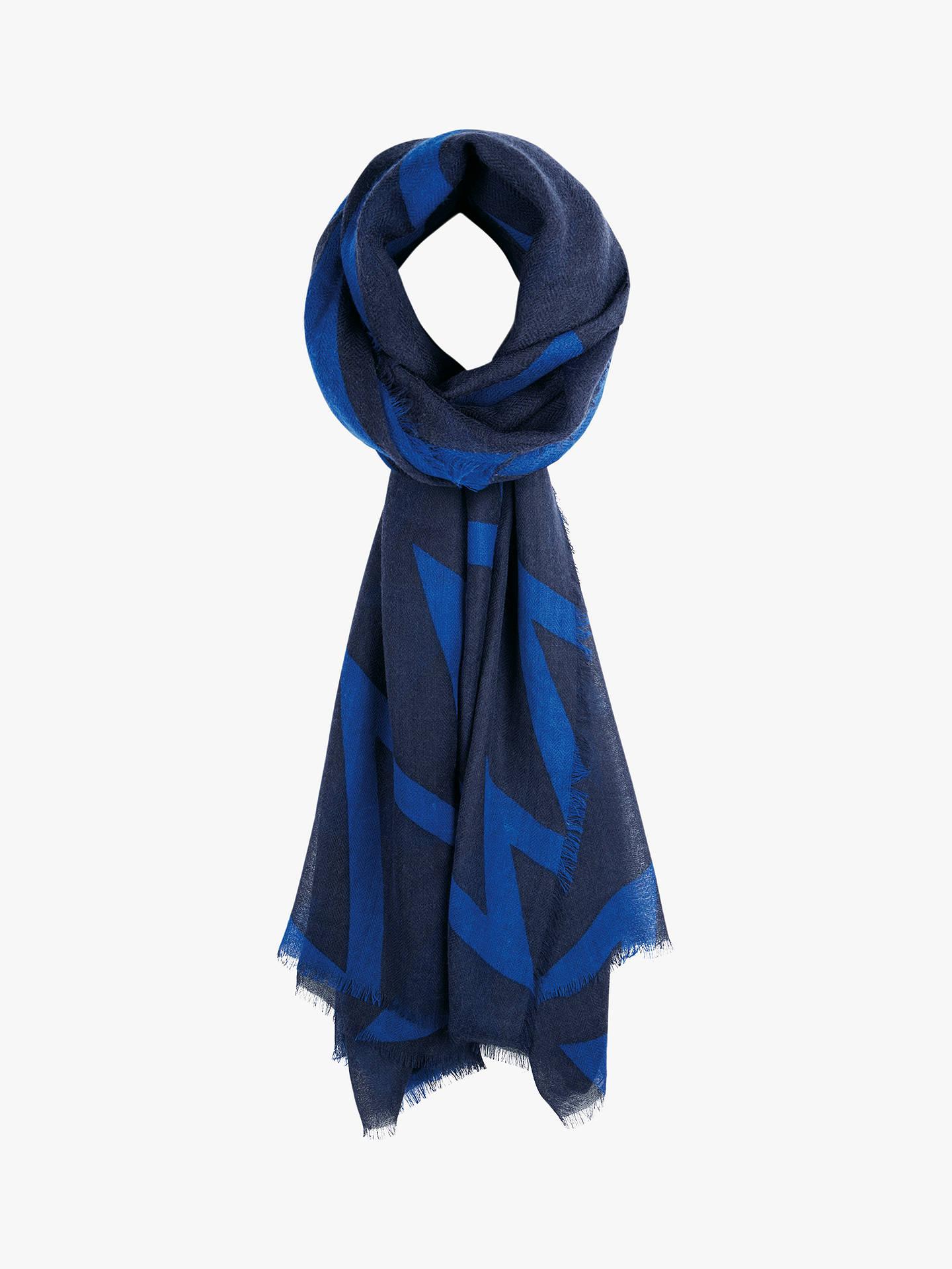 ac7adb010 Buy hush Zig Zag Wool Scarf, Blue/Navy Online at johnlewis.com ...