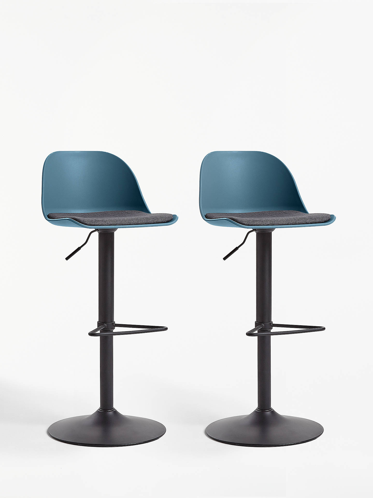 Buy House by John Lewis Whistler Gas Lift Adjustable Bar Stools, Set of 2, Navy Online at johnlewis.com
