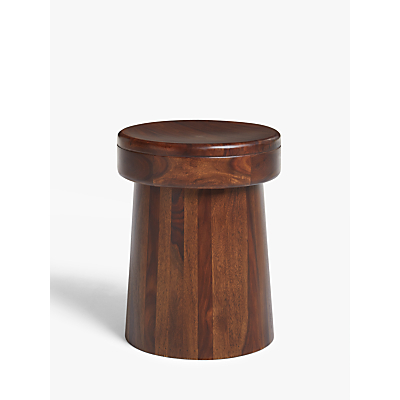 John Lewis & Partners Maharani Drum Stool Side Table, Brown