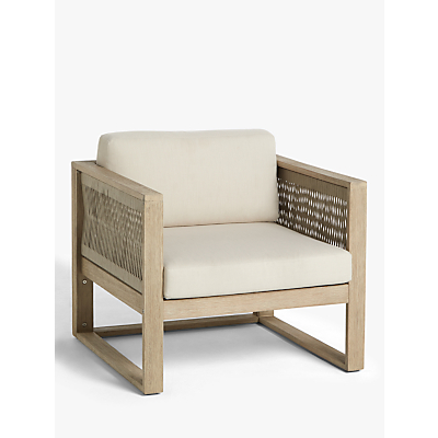 John Lewis & Partners St Ives Rope Garden Armchair with Cushions, FSC-Certified (Eucalyptus Wood), Natural