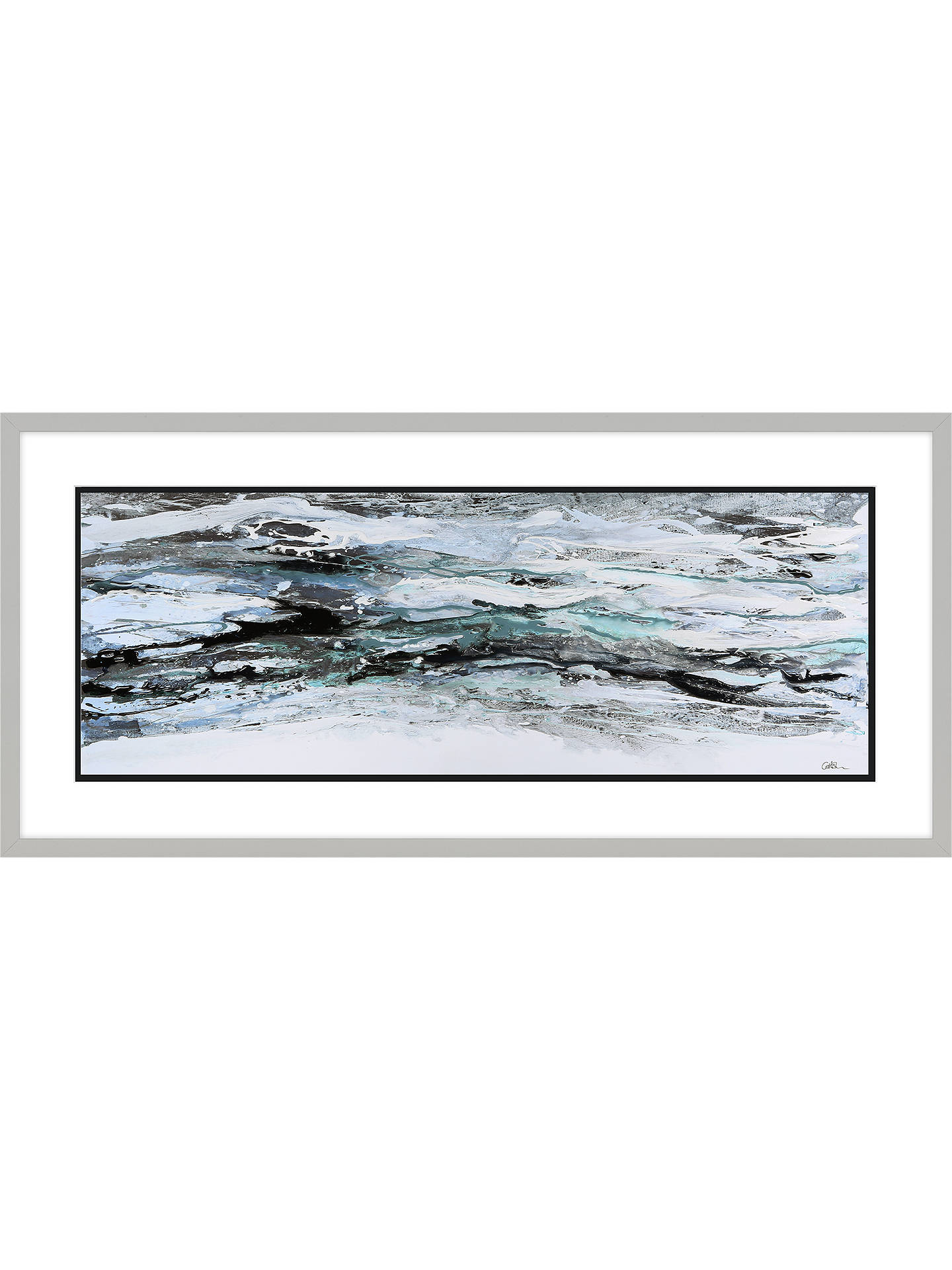 BuyCaroline Ashwood - Teal Peaks Framed Print, 48.5 x 103.5cm, Blue Online at johnlewis.com