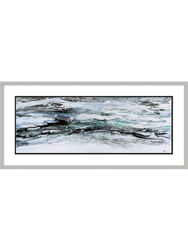 Buy Caroline Ashwood - Teal Peaks Framed Print, 48.5 x 103.5cm, Blue Online at johnlewis.com