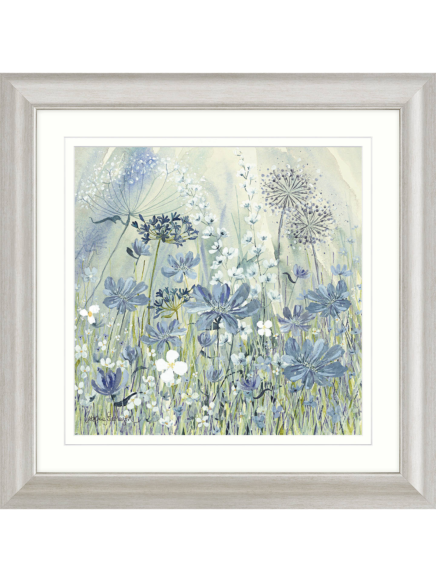 Buy Catherine Stephenson - Powder Blue Flowers II Framed Print & Mount, 68.5 x 68.5