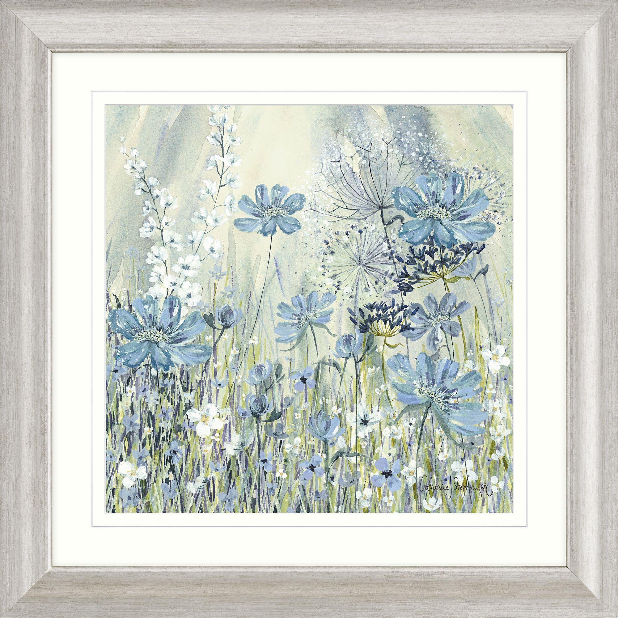Catherine Stephenson Powder Blue Flowers I Framed Print & Mount, 68.5 x 68.5cm