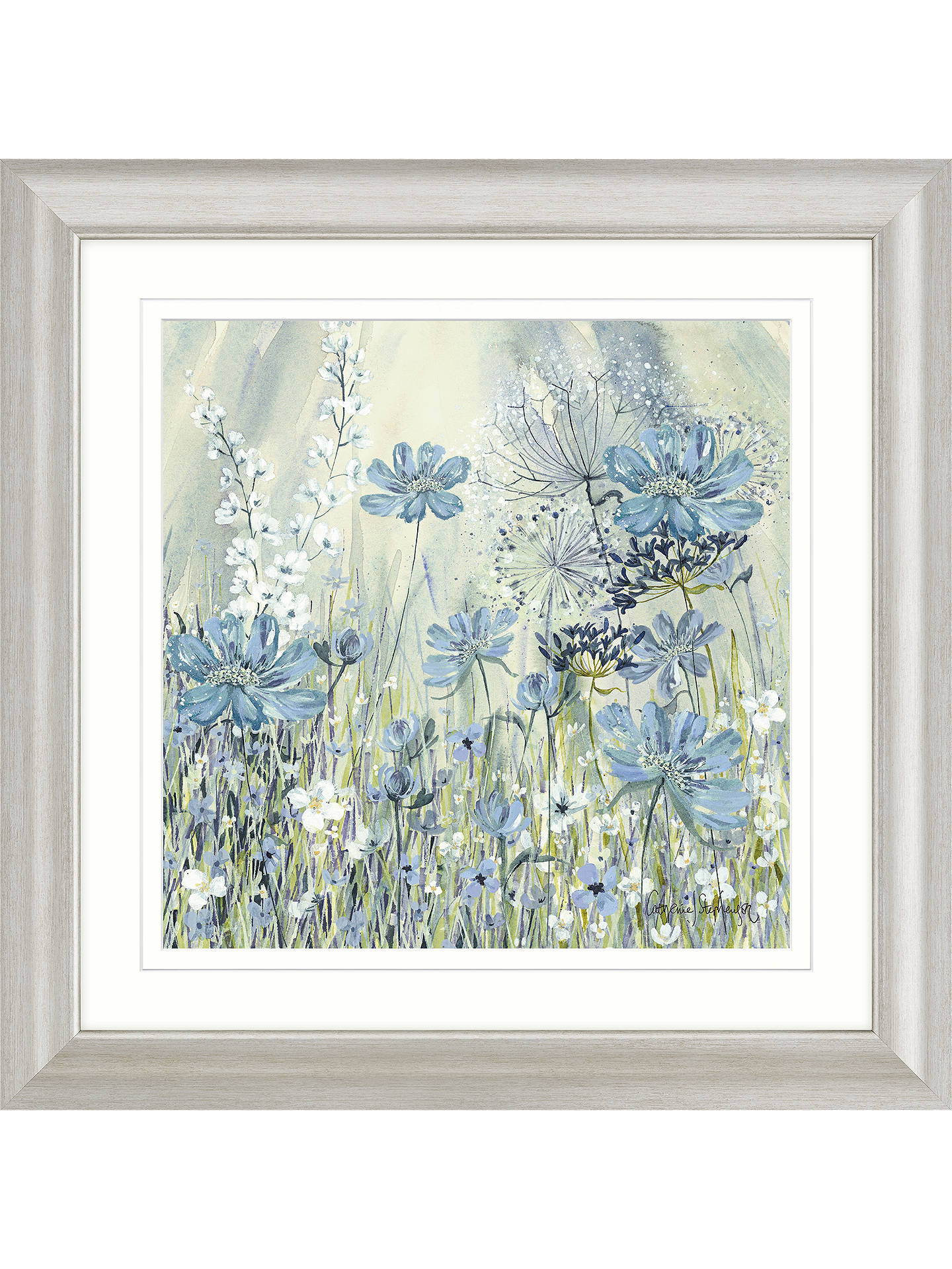 Buy Catherine Stephenson - Powder Blue Flowers I Framed Print & Mount, 68.5 x 68.5cm Online at johnlewis.com