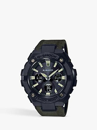Casio Men's G-Shock G-Steel Chronograph Canvas Strap Watch, Khaki/Green GST-W130BC-1A3ER