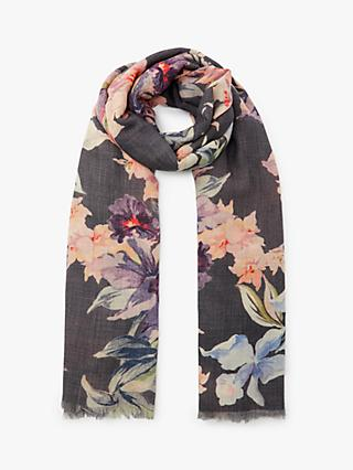 Modern Rarity Wool Silk Storm Lilies Scarf, Grey/Multi