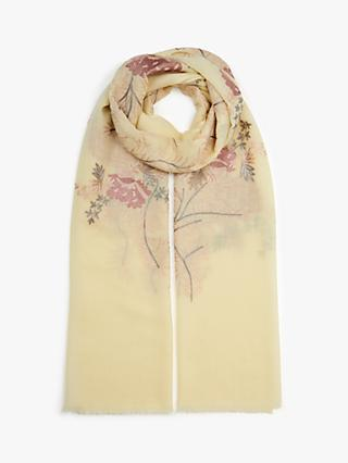Modern Rarity Archive Floral Embroidery Wool Scarf, Yellow/Multi