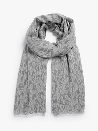 John Lewis & Partners Leopard Spot & Cricle Scarf, Grey