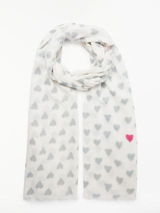 Collection WEEKEND by John Lewis Brushed Hearts Cotton Scarf, Neutral
