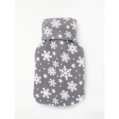 John Lewis & Partners Hot Water Bottle, Mini Grey Snowflakes