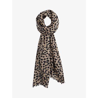 hush Cashmere Leopard Print Scarf, Brown
