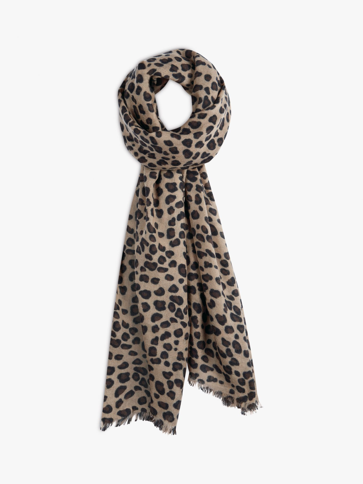 hush Cashmere Leopard Print Scarf, Brown