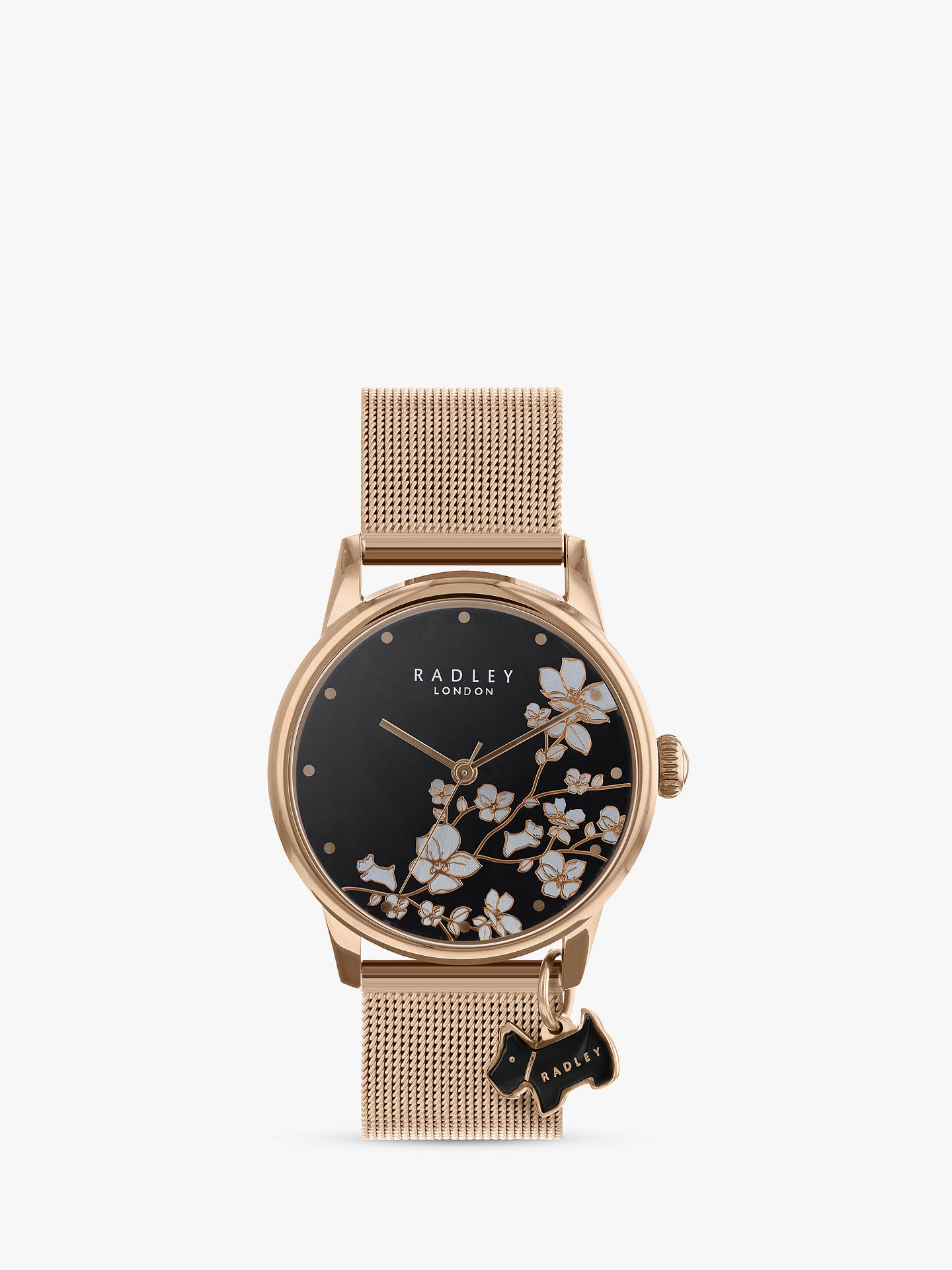 BuyRadley RY4346 Women's Floral Mesh Bracelet Strap Watch, Gold/Black Online at johnlewis.com