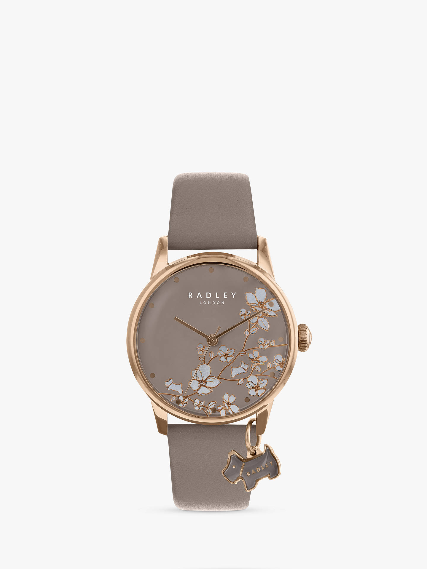 BuyRadley Women's Floral Leather Strap Watch, Mink RY2690 Online at johnlewis.com