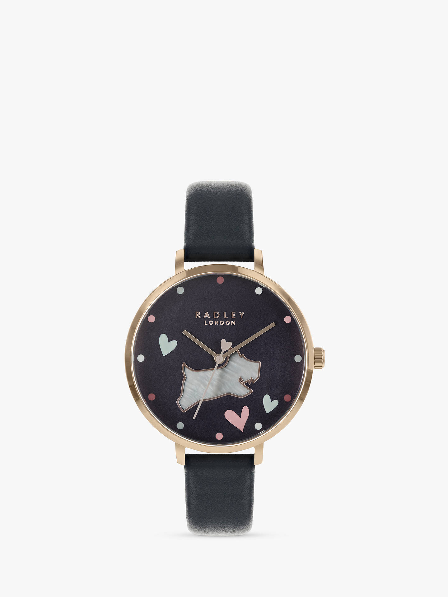 Buy Radley Women's Love Me Love My Dog Leather Strap Watch, Ink RY2680 Online at johnlewis.com