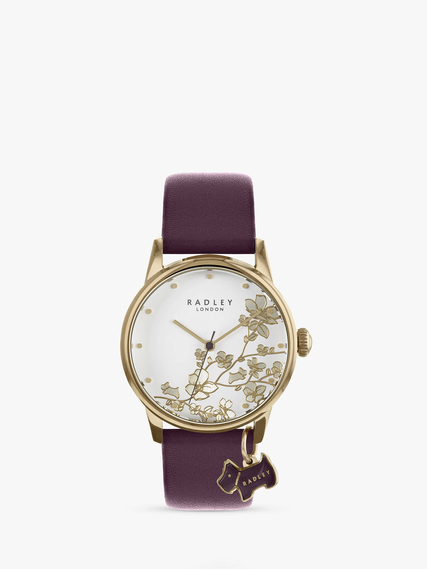Buy Radley Women's Floral Leather Strap Watch, Purple/White RY2688 Online at johnlewis.com